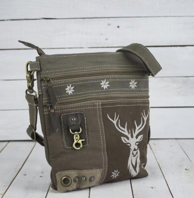 1 kleine Trachtentasche Canvastasche von DOMELO mit Hirschaufdruck