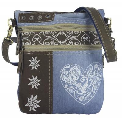 1 Trachtentasche /Schultertasche / Canvastasche von DOMELO, Jeans,  mit Herz- und Edelweißaufdruck