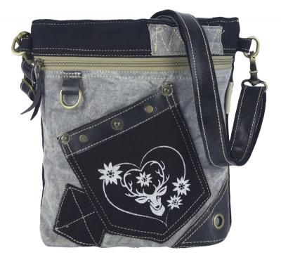 1 Trachtentasche /Schultertasche / Canvastasche von DOMELO,  mit Hirsch- und Herzaufdruck
