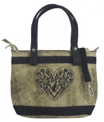 1 Trachtentasche im Antiklook von DOMELO, bestickt  in taupe