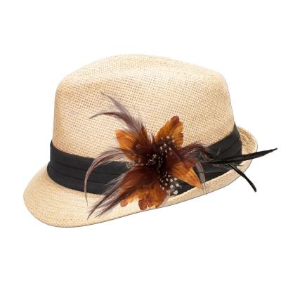 Trachten Strohhut in natur mit Feder-Clip in cognac-braun