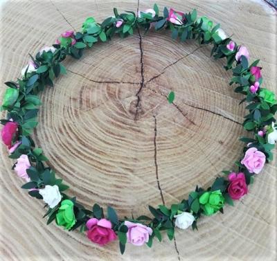 1 Haarkranzerl für Damen in rosa-weiss-pink-grün
