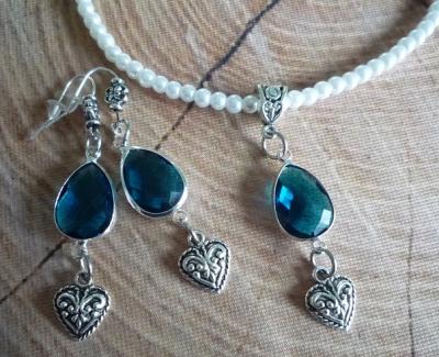 1 Perlenset Kette und Ohrhänger mit Glassteinen, 5 Farben zur Wahl